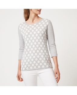 Cotton Cashmere Sweater - White Spot