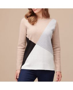 Cotton Cashmere Jumper Natural/Black Block Pattern