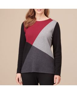 Cotton Cashmere Jumper Port/Black Block Pattern