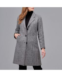 Woollen Black White Check Longline Coat