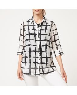 Cotton Silk Shirt - White/Black Check