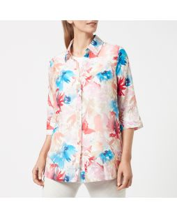 Cotton Silk Shirt - Coral Bouquet