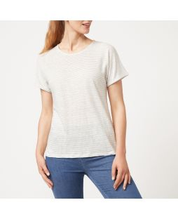 Linen Jersey Striped T-Shirt - White / Grey