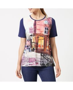 Embellished Crew Neck T-Shirt - Dublin Print