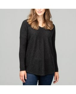 Merino Wool Curved Hem Jumper - Charcoal