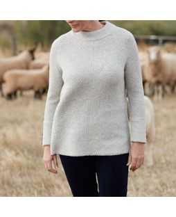 High Neck Rib Sweater with Button Cuffs Mist