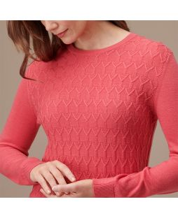 Merino Wool Diamond Cable Crew Pullover - Coral