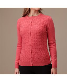 Merino Wool Diamond Cable Cardigan - Coral