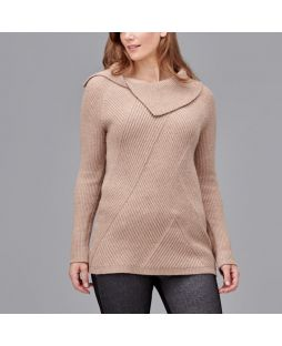 Collared Diagonal Rib Sweater Camel