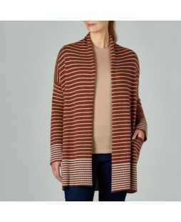 Lambswool Stripe Cardigan - Ginger/Oatmeal