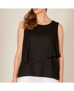 Double Layer Linen Top - Black