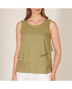 Double Layer Linen Top - Moss