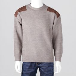Ansett Crew Neck Shaker with Suede Patches - Agate