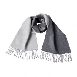 Wool Cashmere Two Tone Scarf - Grey