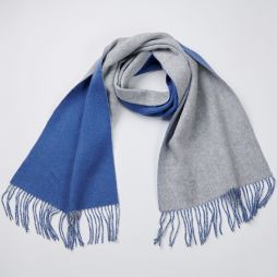 Wool Cashmere Two Tone Scarf - Blue/Grey