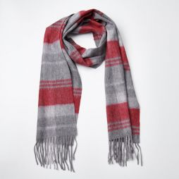 100% WOOL LT GREY RED CHECK SCARF