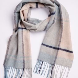 100% Lambswool Scarf - Blue / Natural Check