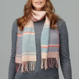 100% Lambswool Check Scarf - Camel / Duck Egg Blue