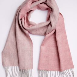 100% Lambswool Two Tone Scarf - Dusty Pink