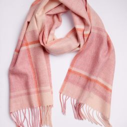 100% Lambswool Check Scarf  - Camel / Cinnamon