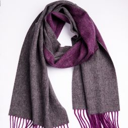 100% Lambswool Two Tone Scarf - Amethyst / Charcoal