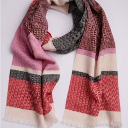100% Lambswool Scarf  - Colour Block Pink