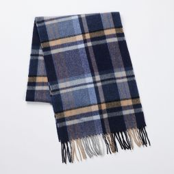 Wool Cashmere Scarf - Camel/Blue Check