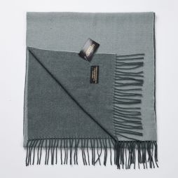 Wool Cashmere Two Tone Large Scarf - Green