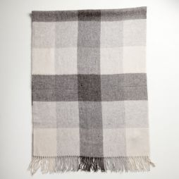 Lambswool Cashmere Shawl Grey Check