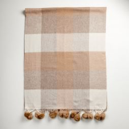 Lambswool Cashmere Shawl Camel Check with Rabbit Pom Poms