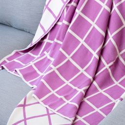 100% Cotton Knitted Throw Rug - Violet Check