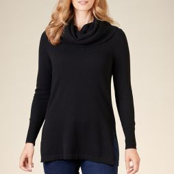 Wool Crew Neck Sweater with Snood - Black