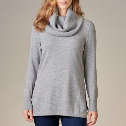 Wool Crew Neck Sweater with Snood - Grey