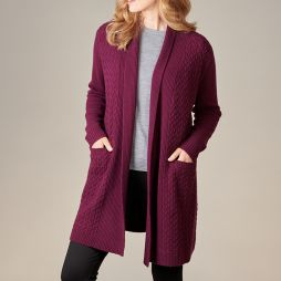 Merino Wool Cable Knit Cardigan with Pockets - Plum