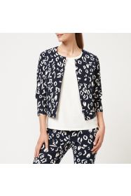 Printed Cropped Zip Up Jacket - Cheetah Print