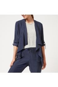 Cupro Waterfall  Jacket - Navy