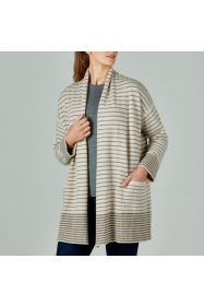 Lambswool Stripe Cardi Walnut/Oatmeal