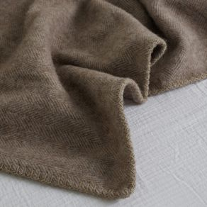 Alpaca Blanket Herringbone Dark Brown