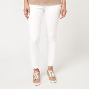Cotton White Denim Full Length Pant