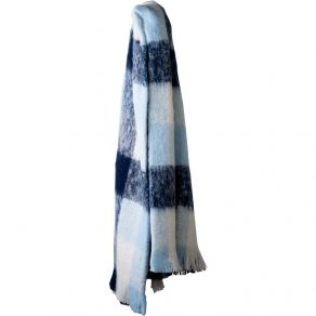 Alpaca Brushed Throw Navy/Sky/Cream Check