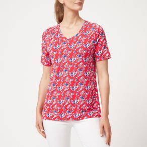 Bamboo V-Neck Short Sleeve T-Shirt Red Floral