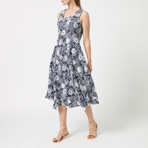 Printed Linen Maxi Dress - Navy Flower