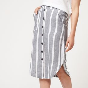 Linen Yarn Dyed Curved Hem Skirt - Striped