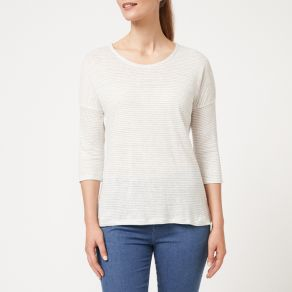 Linen Jersey Striped Top - Grey / White