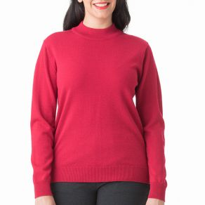 Merino Wool Mock Turtle Neck Pullover Red