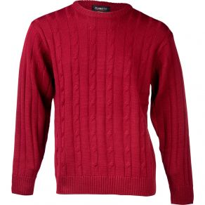 Ansett Crew Neck Cable Knit - Wine