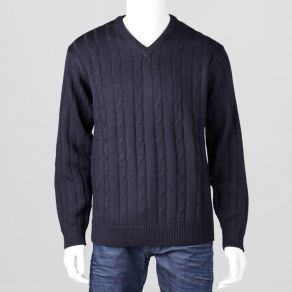 Ansett Vee Neck Cable Knit - Navy