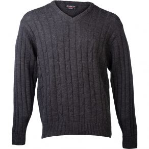 Ansett Vee Neck Cable with Ribbed Sweater Charcoal