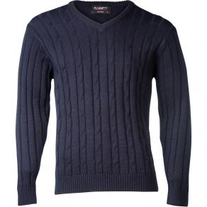 Ansett Vee Neck Cable with Ribbed Sweater Navy
