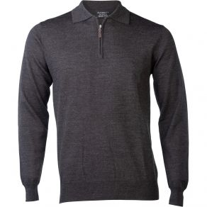 Ansett Merino Wool 1/2 Zip Polo - Charcoal